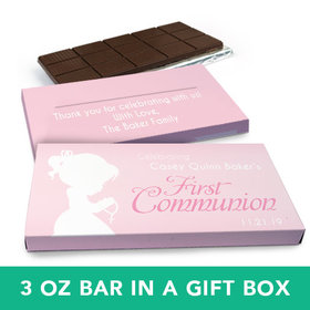 Deluxe Personalized Girl First Communion Child in Prayer Chocolate Bar in Gift Box (3oz Bar)