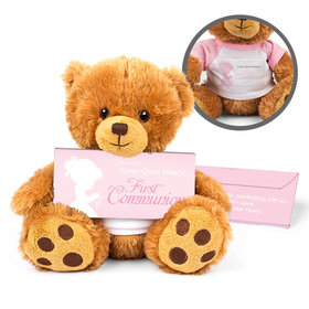 Personalized Communion Child in Prayer Teddy Bear with Belgian Chocolate Bar in Deluxe Gift Box