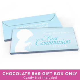 Deluxe Personalized First Communion Child in Prayer Candy Bar Favor Box