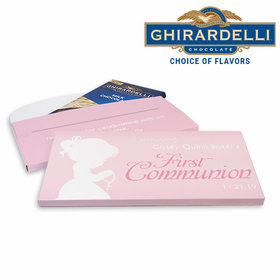 Deluxe Personalized First Communion Child in Prayer Ghirardelli Chocolate Bar in Gift Box