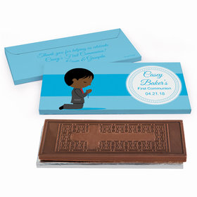 Deluxe Personalized First Communion Little Boy in Prayer Embossed Chocolate Bar in Gift Box