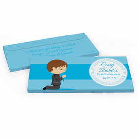 Deluxe Personalized First Communion Little Boy in Prayer Chocolate Bar in Gift Box