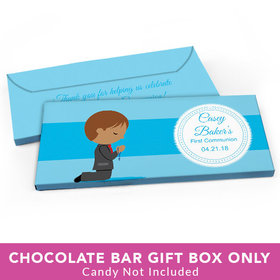 Deluxe Personalized First Communion Little Boy in Prayer Candy Bar Cover