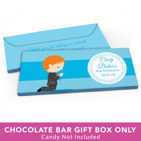 Deluxe Personalized First Communion Little Boy in Prayer Candy Bar Favor Box