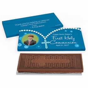 Deluxe Personalized First Communion Roserary Photo Embossed Chocolate Bar in Gift Box