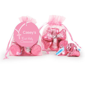 Personalized Communion Rosary Cross Organza Bag with Hershey's Kisses