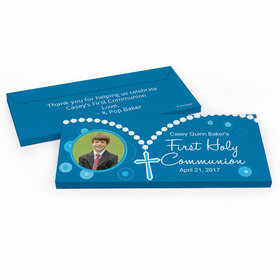 Deluxe Personalized First Communion Roserary Photo Chocolate Bar in Gift Box