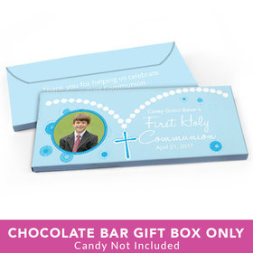 Deluxe Personalized First Communion Roserary Photo Candy Bar Favor Box