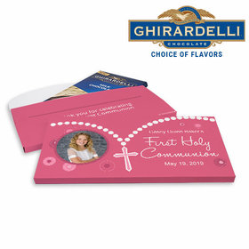 Deluxe Personalized First Communion Rosary Photo Ghirardelli Chocolate Bar in Gift Box