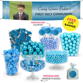 Personalized Boy First Communion Cross & Scroll Deluxe Candy Buffet