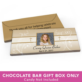 Deluxe Personalized First Communion Photo, Cross & Scroll Candy Bar Cover
