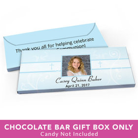 Deluxe Personalized First Communion Photo, Cross & Scroll Candy Bar Favor Box
