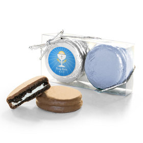 Personalized First Communion Blue Chalice & Holy Host 2PK Chocolate Covered Oreo Cookies