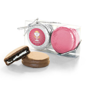 Personalized First Communion Pink Chalice & Holy Host 2PK Chocolate Covered Oreo Cookies