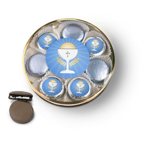 First Communion Blue Chalice & Holy Host Chocolate Covered Oreo Cookies Large Plastic Tin