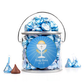 Personalized First Communion Blue Chalice & Holy Host Silver Paint Can with Sticker