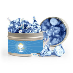 First Communion Blue Chalice & Holy Host 8oz Tin with Label
