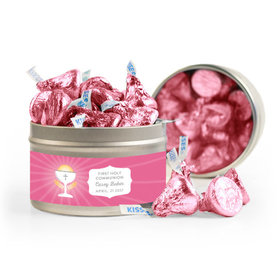 Personalized First Communion Pink Chalice & Holy Host 8oz Tin with Label