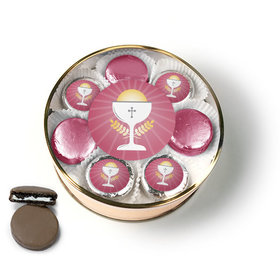 First Communion Pink Chalice & Holy Host Belgian Chocolate Covered Oreo Cookies Extra-Large Plastic Tin