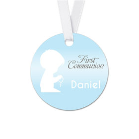 Personalized Round Child in Prayer Communion Favor Gift Tags (20 Pack)