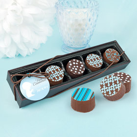 Personalized Boy First Communion Child in Prayer Gourmet Chocolate Truffle Gift Box (5 Truffles)