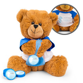 Personalized Communion Child in Prayer Teddy Bear with Chocolate Coins in XS Organza Bag