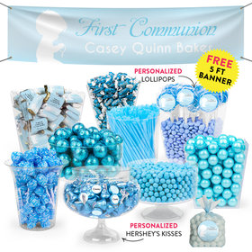 Personalized Boy First Communion Child in Prayer Deluxe Candy Buffet