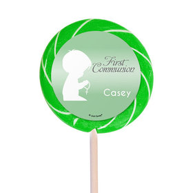 "Personalized Communion 3"" Swirly Pop Child in Prayer (12 Pack)"