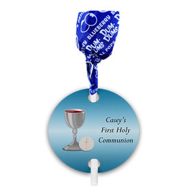 Personalized Boy First Communion Host & Silver Chalice Dum Dums with Gift Tag (75 pops)