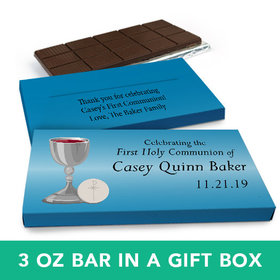Deluxe Personalized Boy First Communion Host & Silver Chalice Chocolate Bar in Gift Box (3oz Bar)