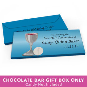 Deluxe Personalized First Communion Host & Silver Chalice Candy Bar Favor Box