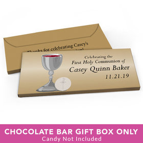 Deluxe Personalized First Communion Host & Silver Chalice Candy Bar Cover
