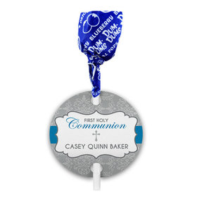Personalized Boy First Communion Fluer Di Lis Cross Dum Dums with Gift Tag (75 pops)