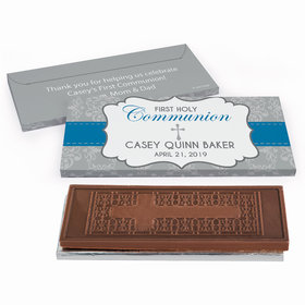 Deluxe Personalized First Communion Fluer Di Lis Cross Embossed Chocolate Bar in Gift Box