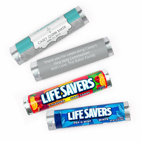 Personalized Communion Fluer Di Lis Cross Lifesavers Rolls (20 Rolls)