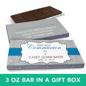 Deluxe Personalized Boy First Communion Fluer Di Lis Cross Chocolate Bar in Gift Box (3oz Bar)