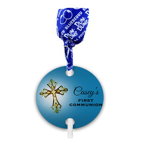 Personalized Boy First Communion Gold Cross Dum Dums with Gift Tag (75 pops)