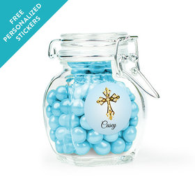 Communion Favor Personalized Latch Jar Gold Cross (6 Pack)