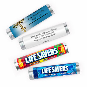 Personalized Communion Gold Cross Lifesavers Rolls (20 Rolls)
