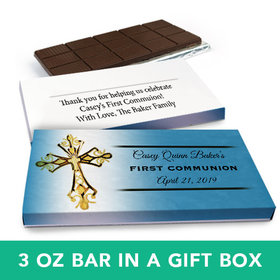 Deluxe Personalized Boy First Communion Gold Cross Chocolate Bar in Gift Box (3oz Bar)
