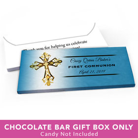 Deluxe Personalized First Communion Gold Cross Candy Bar Cover