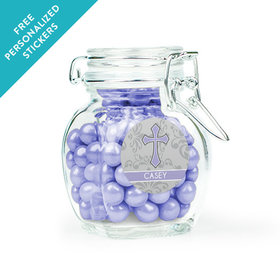 Communion Favor Personalized Latch Jar Fluer Di Lis Cross (6 Pack)