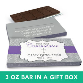 Deluxe Personalized Girl First Communion Fluer Di Lis Cross Chocolate Bar in Gift Box (3oz Bar)