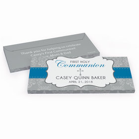Deluxe Personalized First Communion Fluer de Lis Cross Chocolate Bar in Gift Box