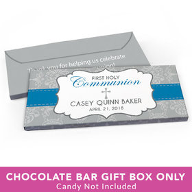 Deluxe Personalized First Communion Fluer de Lis Cross Candy Bar Cover