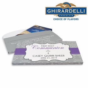 Deluxe Personalized First Communion Fluer Di Lis Cross Ghirardelli Chocolate Bar in Gift Box