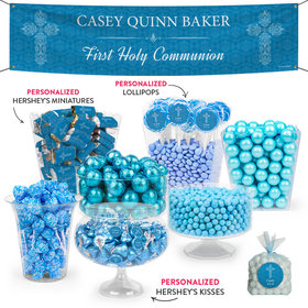 Personalized Boy First Communion Elegant Cross Deluxe Candy Buffet
