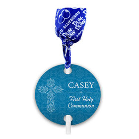 Personalized Boy First Communion Elegant Cross Dum Dums with Gift Tag (75 pops)