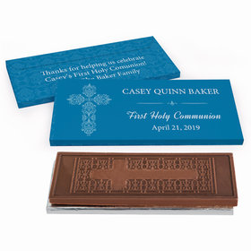 Deluxe Personalized First Communion Elegant Cross Embossed Chocolate Bar in Gift Box
