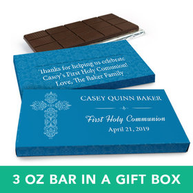 Deluxe Personalized Boy First Communion Elegant Cross Chocolate Bar in Gift Box (3oz Bar)